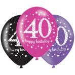"6 Latex Balloons Age 40 Pink Celebration 27.5cm/11"""
