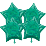 Multi-Pack Iridescent 4 Pack Star Green Foil Balloon P41 packaged