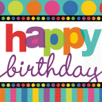 16 Napkins Dots and Stripes Happy Birthday 33 x 33 cm