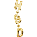 "SuperShape ""Phrase ""HBD"" Gold Vertical"" Foil Balloon, P35, packed, 17 x 81cm"