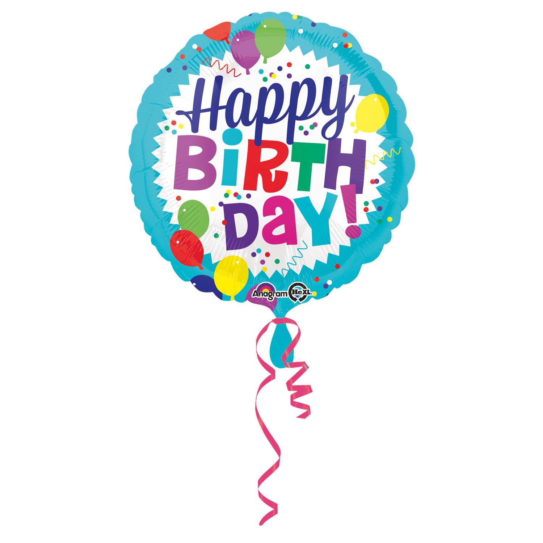 Standard Happy Birthday Balloon Burst Foil Round S40