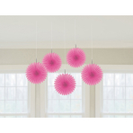 5 Paper Fan Decorations Pink 15.2 cm