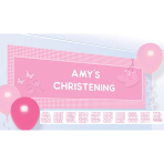 Banner Christening Booties - Pink Personalize It 120 x 45 cm
