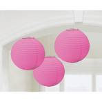 3 Lanterns Bright Pink Paper 20.4 cm
