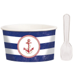 8 Treat Cups Anchors Aweigh with 8 plastic spoons 7,6 cm