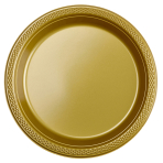 20 Plates Gold Plastic Round 17.7 cm