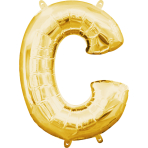 MiniShape Letter C Gold Foil Balloon L16 Packaged 22cm x 33c