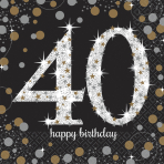 16 Napkins 40 Sparkling Celebration - Silver & Gold 33 x 33 cm