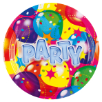 8 Plates Ballon Party 2 Paper Round 17.7 cm