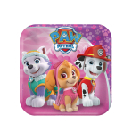 8 Plates Pink Paw Patrol Paper Squared 17.7 x 17.7 cm