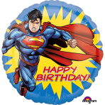 """Standard """"Superman HBD"""" Foil Balloon Round, S60, packed, 43cm"""
