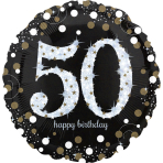 "Jumbo ""Sparkling Birthday 50"" Foil Balloon, P40, packed, 71 x 71cm"