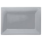 3 Platters Silver Plastic Rectangular 33 x 23 cm