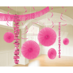 Decoration Kit Bright Pink Paper / Foil 18 Parts 274 cm / 213 cm / 20.3 - 55.8 cm