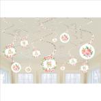12 Swirl Decorations Floral Baby Foil / Paper 61 cm
