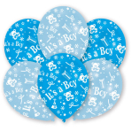 6 Latex Balloons All Round Printed It's a Boy 27.5 cm/11''