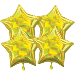 Multi-Pack Iridescent 4 Pack Star Yellow Foil Balloon P41 packaged