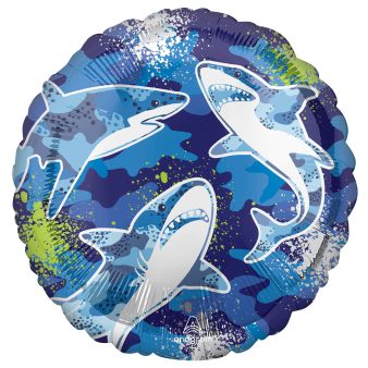 Standard Shark Foil Balloon Round S40 Packaged 43 cm