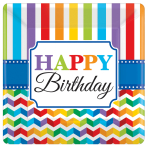8 Plates Bright Birthday Paper Squared 25.4 x 25.4 cm