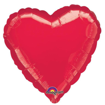 "Standard ""Metallic Red"" Foil Balloon Heart, S15, packed, 43cm"