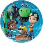 8 Plates Rusty Rivets Paper Round 22.8 cm