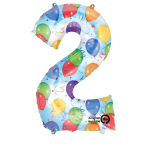 SuperShape Number 2 Balloons & Streamers Foil Balloon L34 Packaged 50cm x 88cm