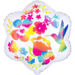 Junior Shape Satin Watercolor Flowers Foil Balloon S50 packaged