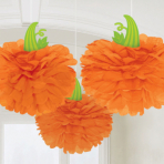 3 Paper Hanging Decorations Pumpkin