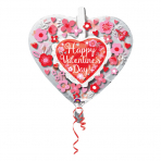 """Insider """"HVD Heart with Flowers"""" Foil Balloon, P60, packed, 66 x 66cm"""