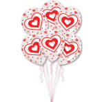 6 Latex Balloons All Round Printed Hearts 27.5 cm/11''