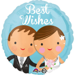 """Standard """"Best Wishes Wedding Couple"""" Foil Balloon Round, S40, packed, 43 cm"""