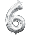 MiniShape Number 6 Silver Foil Balloon L16 Packaged 20cm x 35cm