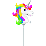 "Mini Shape ""Rainbow Unicorn"" Foil Balloon, A30, bulk,"
