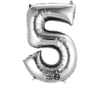 SuperShape Number 5 Silver Foil Balloon L34 Packaged 58cm x 86cm