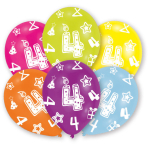 6 Latex Balloons All Round Printed Age 4 27.5 cm/11''