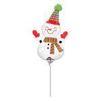 Mini Shape Smiley Snowman FoilBalloon A30 Air Filled