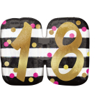 """Holographic SuperShape """"Pink & Gold Milestone 18"""" Foil Balloon P40 Packaged 63x50cm"""