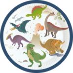8 Plates Happy Dinosaur Paper Round 17.7 cm