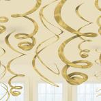 12 Swirl Decorations Gold Foil 55.8 cm