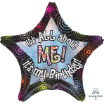 "Jumbo ""It's All About Me Birthday"" Foil Balloon, P40, packed, 71 x 71cm"