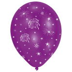 6 Latex Balloons All Round Printed Fireworks 27.5 cm / 11""