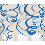 12 Swirl Decorations Bright Royal Blue Foil 55.8 cm