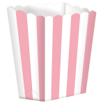 5 Popcorn Boxes Stripes New Pink Paper 6.3 x 13.4 x 3.8 cm