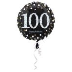 Standard Sparkling Birthday 100 Foil Balloon Round S55 Packaged 43 cm