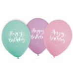 6 Latex Balloons Happy Birthday Pastel 22.8 cm / 9""