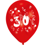 8 Latex Balloons Age 30 2-Sided 25.4 cm / 10""