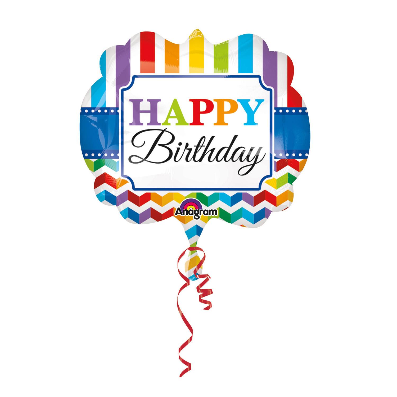 SuperShape Happy BirthdayStripe Chevron Foil Balloon P35 Packaged