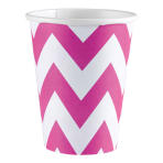 8 Cups Bright Pink Chevron Paper 266 ml