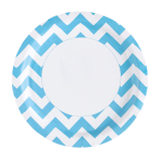 8 Plates Carribean Blue Chevron 23 cm