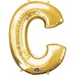 SuperShape Letter C Gold Foil Balloon L34 Packaged 63cm x 81cm